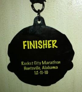 2010 Rocket City Marathon Medal (Back)