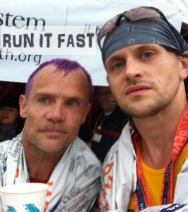 Flea and Joshua Holmes After the 2011 Los Angeles Marathon