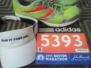 2011 Boston Marathon - Run It Fast Visor, Newton Shoes, Bib