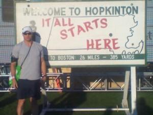 Chris Estes in Hopkinton waiting for the 2011 Boston Marathon