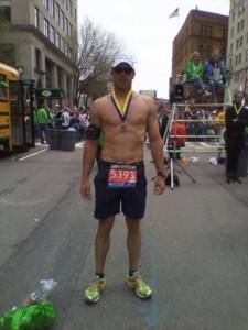 Chris Estes after finishing his First Boston Marathon (2011)