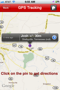 Day 7 Vol State 2011 GPS Location