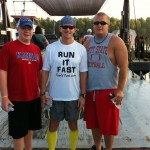 Vol State 500K: Joshua Holmes on the ferry with crew Blake  Heiman and Cal Archer