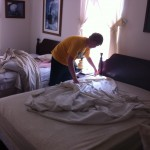 Vol State 500K: Blake Making Beds at the Wartrace Walking Horse Hotel