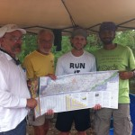 Vol State 500K: Finisher Photo: Don Winkley, Joshua Holmes, and Naresh Kumar with Lazarus Lake