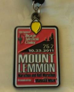Mount Lemmon Marathon Medal 10232011