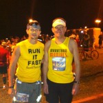 Joshua Holmes with Stanley Hup before the 2012 Maui Oceanfront Marathon