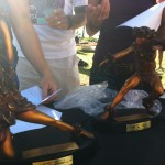 Overall Male and Female Hawaiian Trophies from the 2012 Maui Oceanfront Marathon