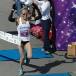 Leah Thorvilson - 2012 Little Rock Marathon Winner - Finish Line Break