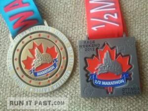 Ottawa Marathon and Half Marathon Medals - 2012