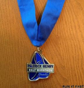 Patrick Henry Half Marathon Medal 2012