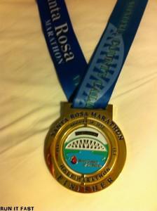 Santa Rosa Marathon Medal 2012
