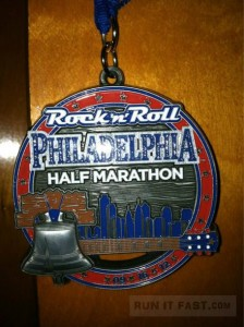 Rock 'n' Roll Philadelphia Half Marathon Medal - 2012 - Sean Higgins - Run It Fast