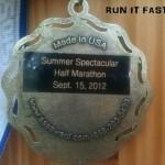Summer Spectacular Half Marathon Medal - 2012 - Back - Dani Obregon - Run It Fast