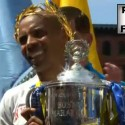 Meb Keflezighi with 2014 Boston Marathon Trophy - Run It Fast