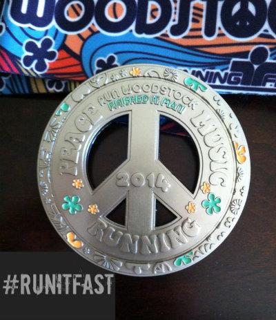 Run Woodstock Half Marathon Medal - 2014 - Run It Fast