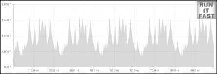 Born to Run 100 Elevation Chart  - Run It Fast