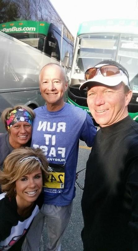 Robin Robbins, Kendra Schoffstall, Kevin Gerteisen, Jen Metcalf at the Boston Marathon